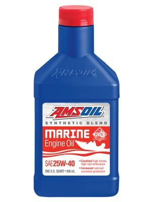 AMSOIL 25W-40 Synthetic Blend Marine Engine Oil (QT)